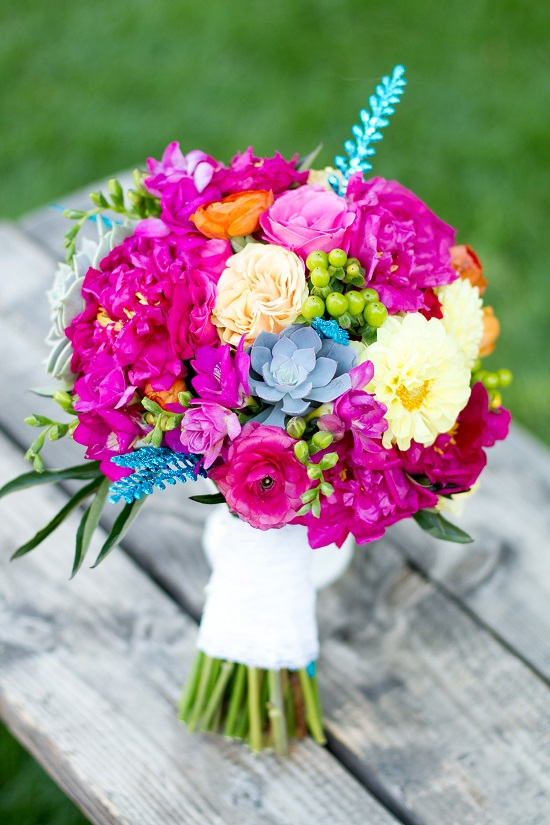 Fuchsia and Turquoise Bouquet
