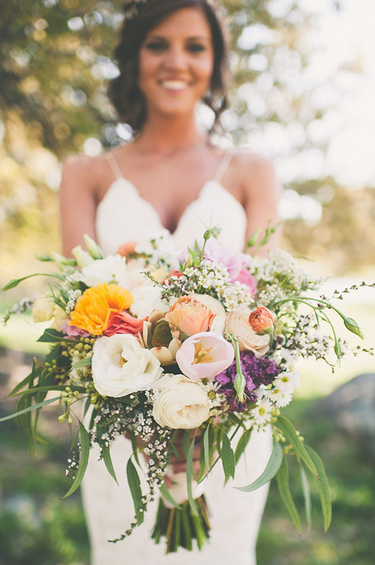 colorful wedding bouquet by L and S Design Co