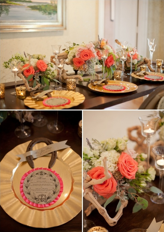 gold and peach table decor