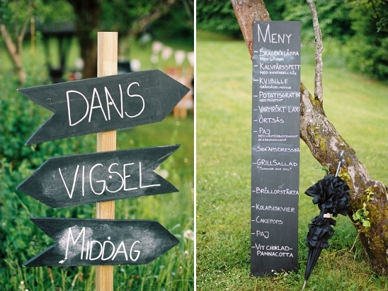 chalkboard wedding and menu signs