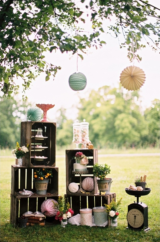 wooden crate wedding dessert display