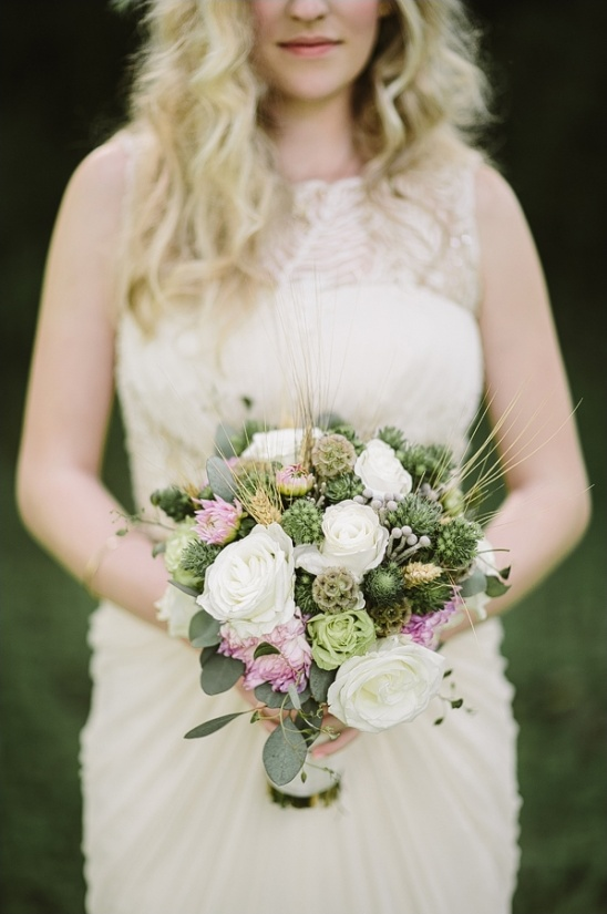 green, white and pink wedding bouquet