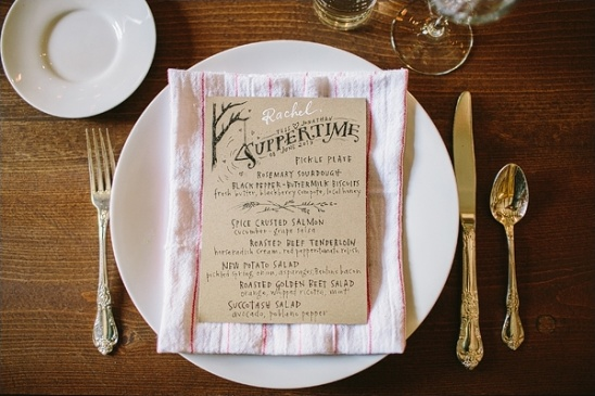 handmade wedding menu by evie coates