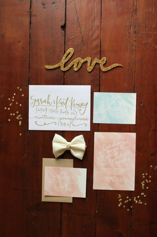 peach, blue and gold wedding invites by thorn + sparrow