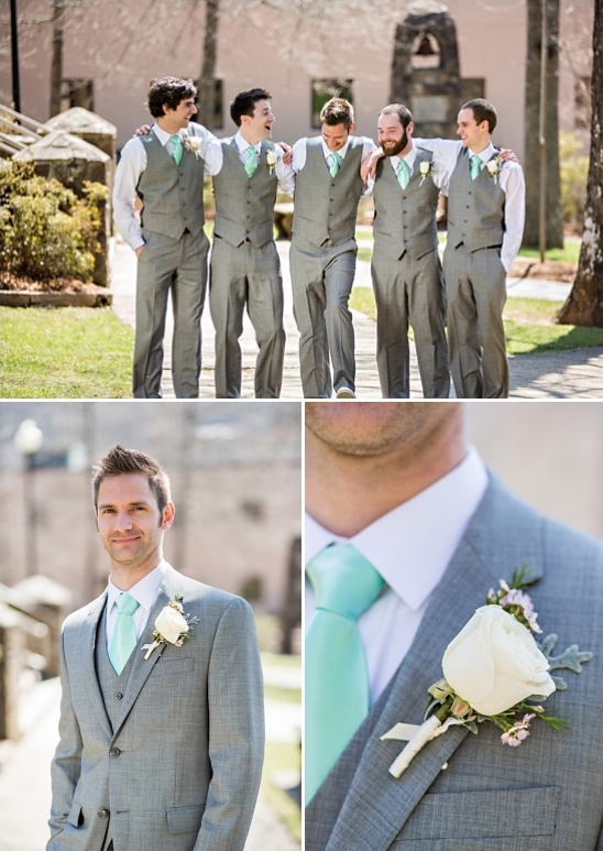 Green Patterened Bridesmaid Dresses Grey Groomsman Looks