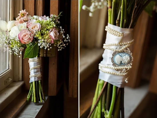 brooch tied to bouquet
