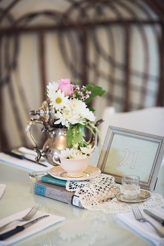 vintage teapot and table number ideas