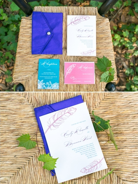 feather wedding invites