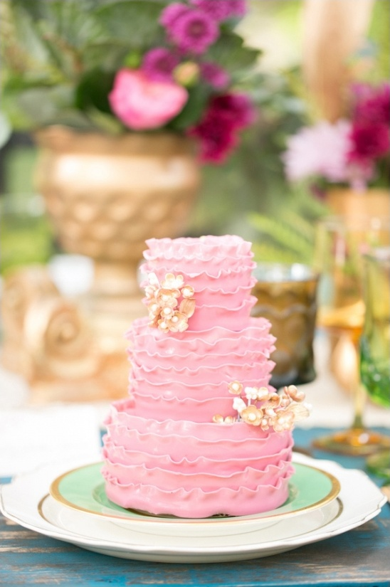 pink and gold ruffle wedding cake by the sugar suite