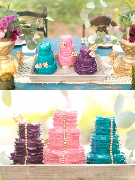 pink, blue and purple wedding cakes by the sugar suite