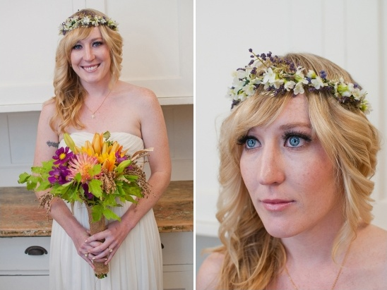 bohemian bridal looks with floral crown
