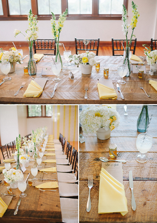yellow and grey table settings