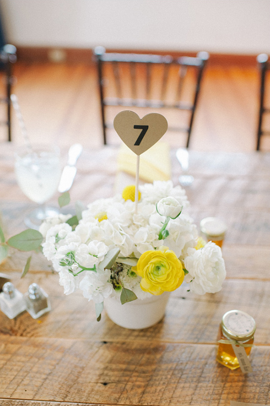 gold heart table number ideas