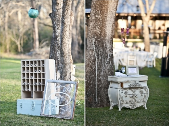 vintage escort card and guest book table ideas