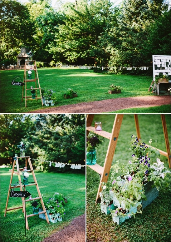 backyard ceremony signs and decor