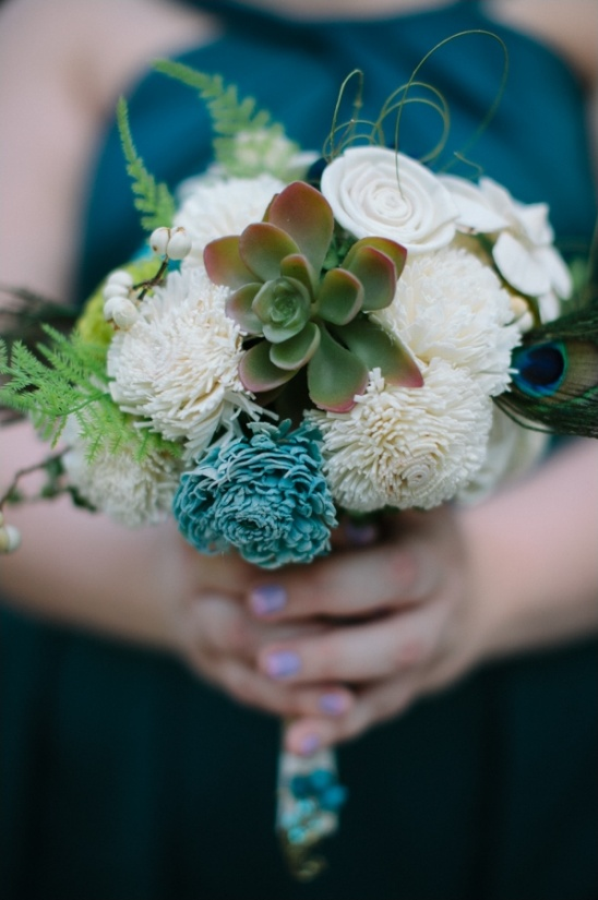 blue and white bridesmaid bouquet with succulents