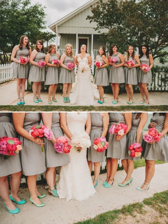 tan and mint bridesmaid looks