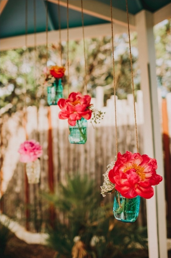 hanging floral ceremony decor
