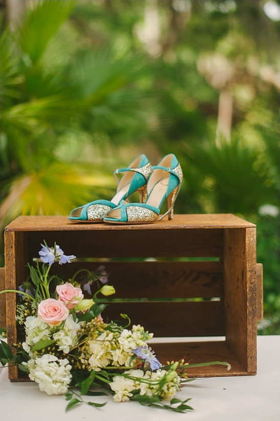 blue and gold Kate Spade shoes