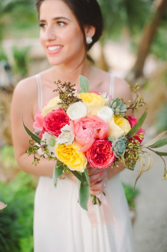 coral, yellow and pink wedding bouquet by fh weddings & events
