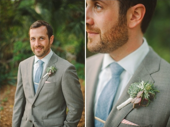 succulent boutonniere by fh weddings & events