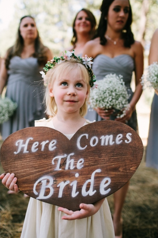 here comes the bride rustic heart sign