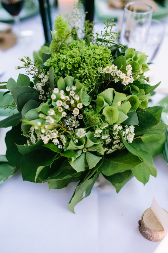 green floral centerpiece by glasswing floral