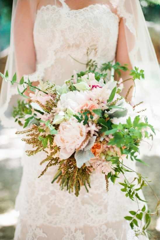 peach and green wedding bouquet by the little branch
