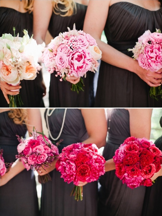 ombre pink bridesmaid bouquets