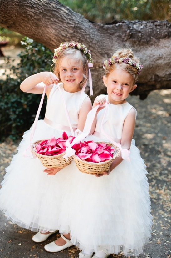 pink and white flower girl looks