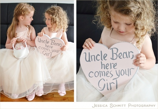 Flower girls with heart sign