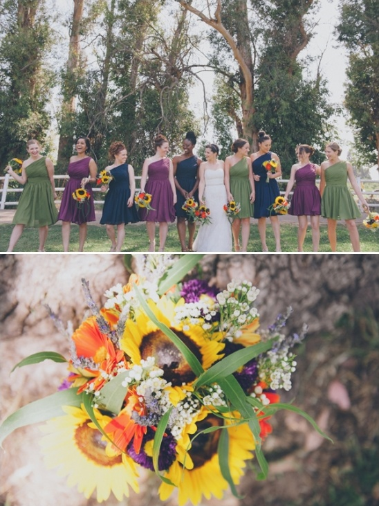 green,navy,purple bridesmaid dresses