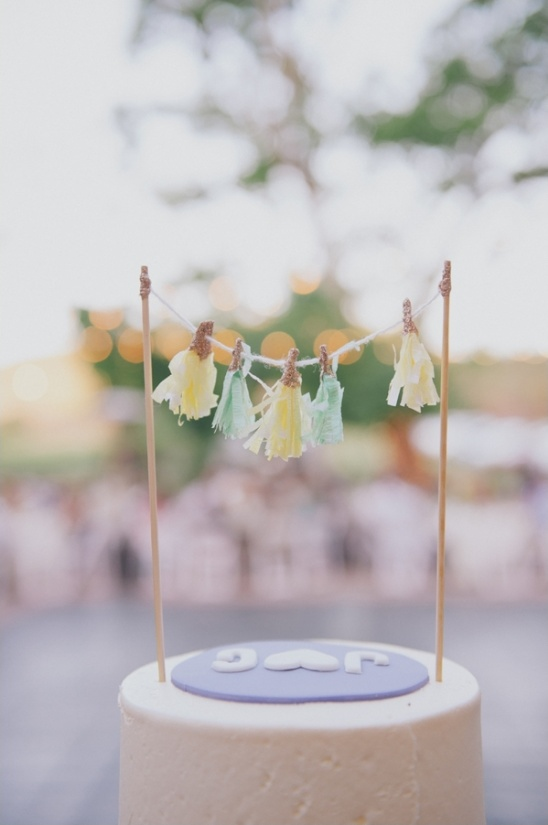 yellow and green wedding cake topper