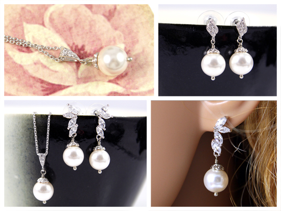 bridal pearl jewelry set, necklace, earrings, cubic zirconia, crystal, weddings