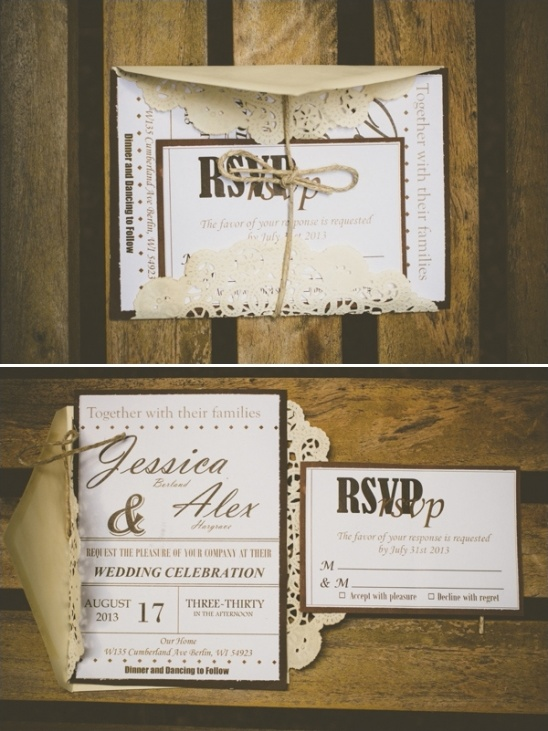 brown and white wedding invitations