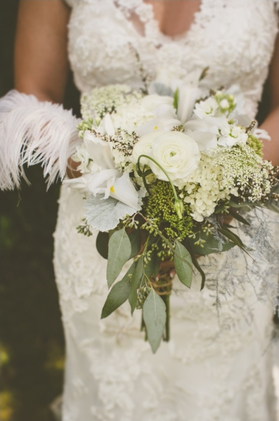 wedding bouquet with feathers