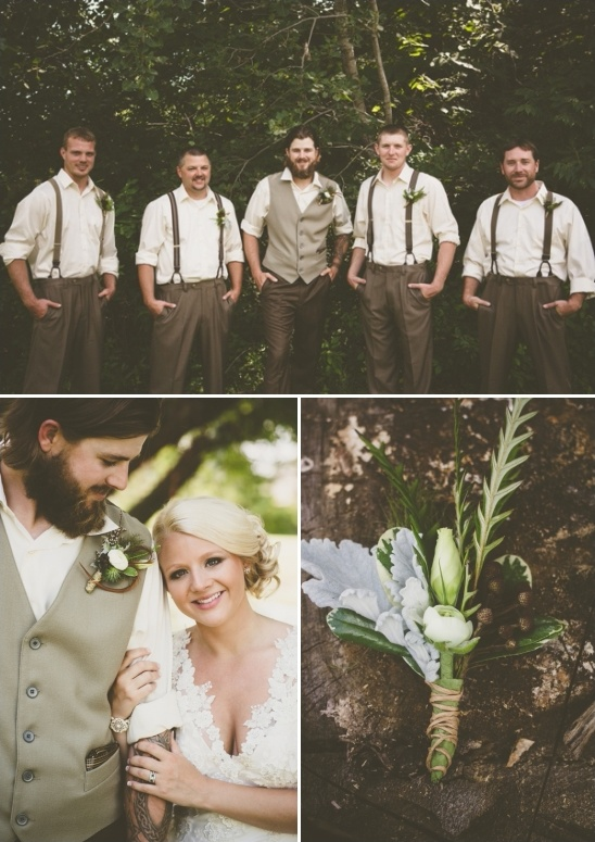 rustic green and white boutonnieres by floral expressions