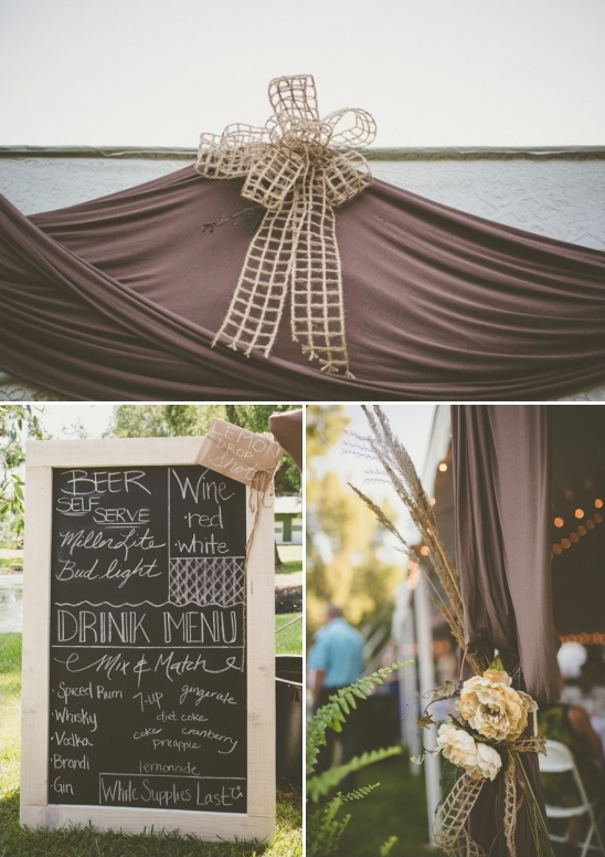 chalkboard wedding drink menu sign