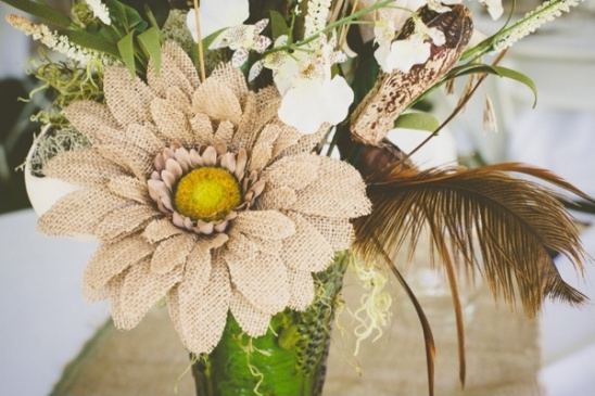 diy burlap flower wedding decoration ideas