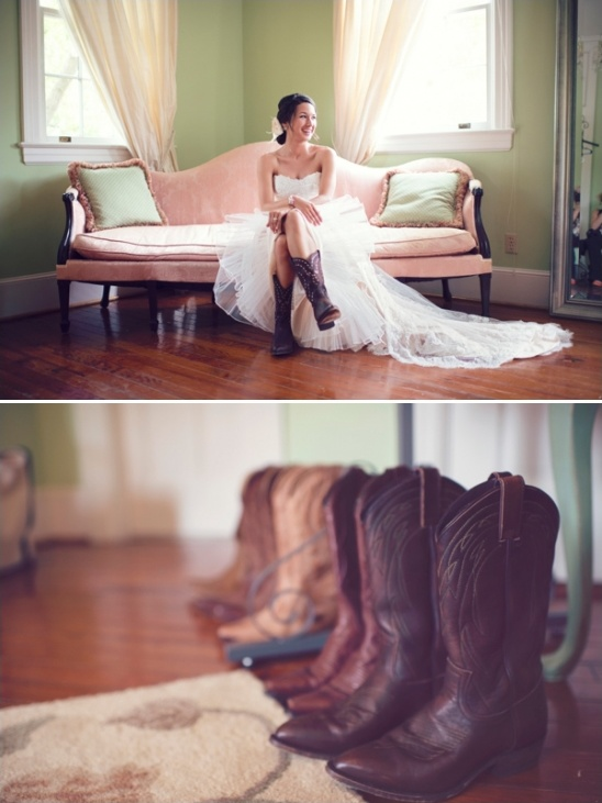 wedding dress with cowboy boots look idea