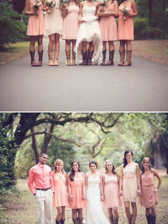 peach bridesmaid dresses and cowboy boots