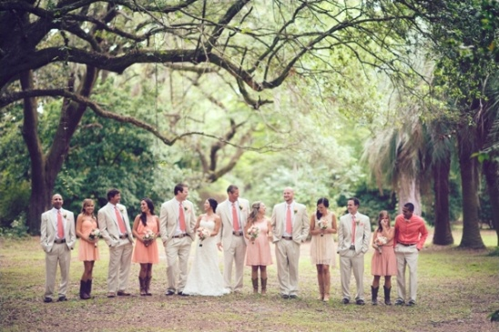 rustic pink wedding party ideas