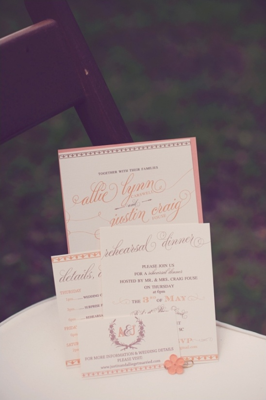 pink and peach wedding invitation ideas