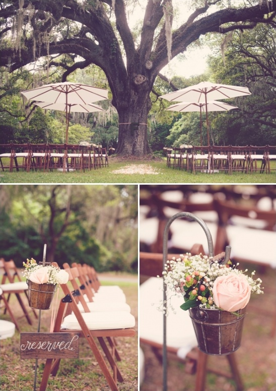 rustic pink wedding ceremony decor