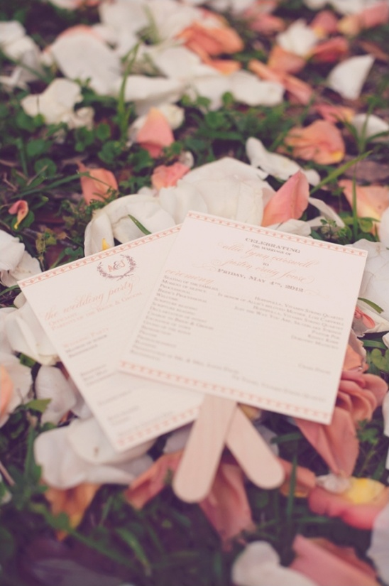 pink and peach wedding program ideas