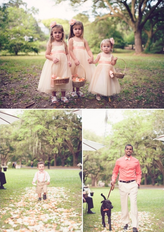 pink and peach flower girl and ring bearer ideas