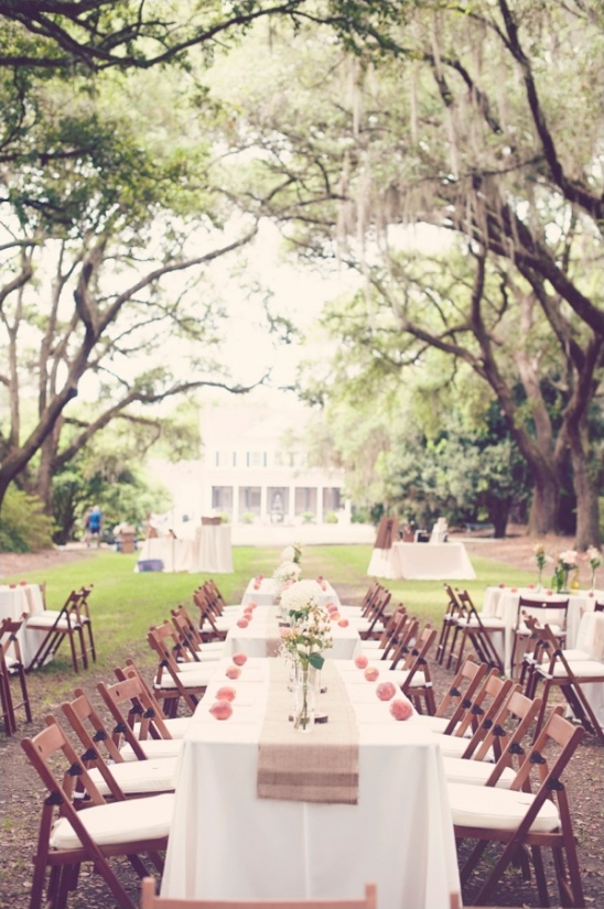 pink and peach outdoor reception ideas