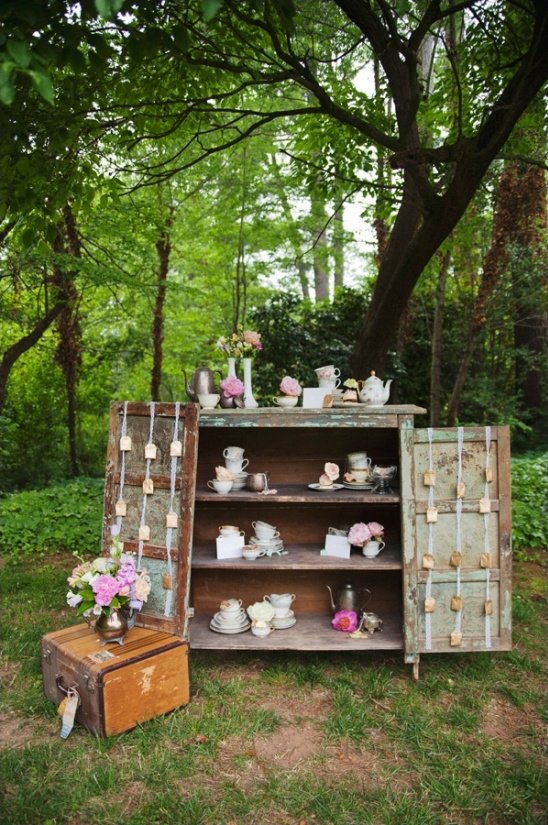 vintage tea station ideas