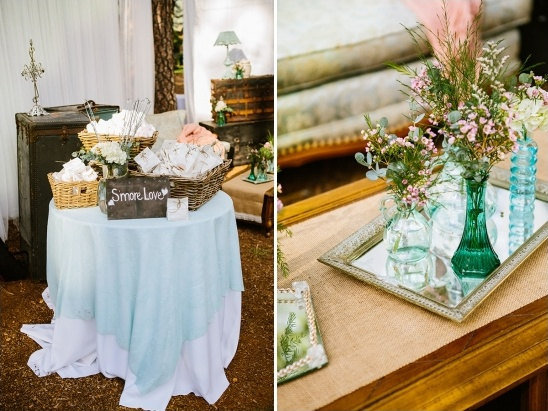 smores bar and vintage vase decor