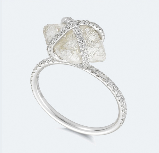 natural rough diamond ring with micro pave diamond
